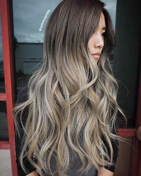 Ash, Blonde, Ombre, Grey, Hair, Balayage, Color