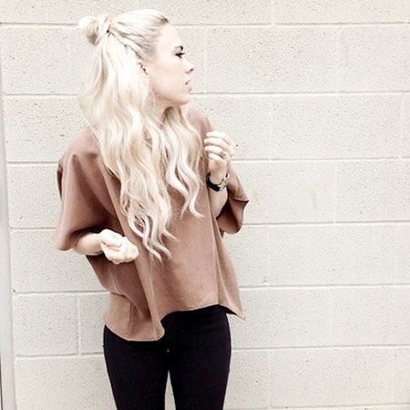 Long, Blonde, Bleach, Fashion, Up, Knot, Half, Bun