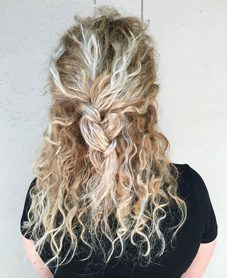 Curly Blonde Balayage Wedding Summer Skin Prom