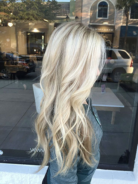 Blonde Balayage Long White Highlights Fall