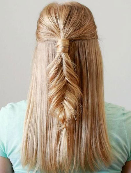 Fishtail, Braid, Waterfall, Long, Braided, Blonde, Up, Trenza