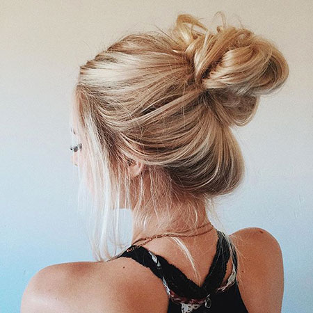 Messy, Bun, Blonde, Updo, Loose, Long, Braided