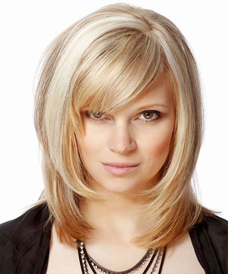 Medium, Short Hairstyles, Length, Bangs, Women, Wig