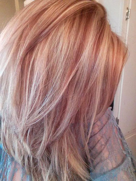 Gold, Rose, Highlights, Blonde Hairstyles, Trendy, Stacked, Sassy, Red