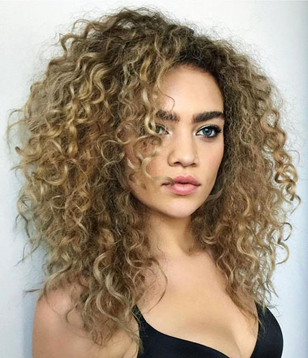 Curly, Naturally, Medium, Layers, Layered, Girls, Curls, Bronde