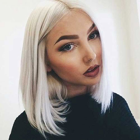 Short, Platinum, Long, Blonde, Girl, Bobs, Bob
