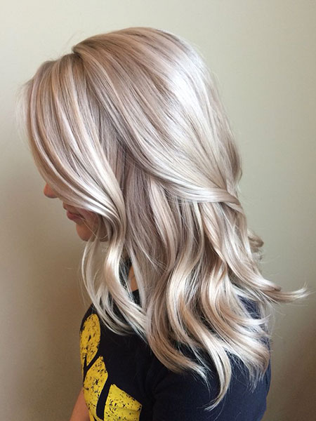 Blonde, Balayage, Platinum, Medium, Length, Fall, Colours