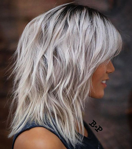 Blonde, Shag, Medium, Length, Silver, Balayage, Thin, Thick