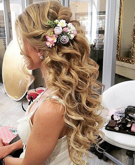 Wedding Prom Long Curly Updo Layers Curls Bride