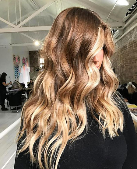 Balayage Blonde Waves Ombre Long Highlights Brunette