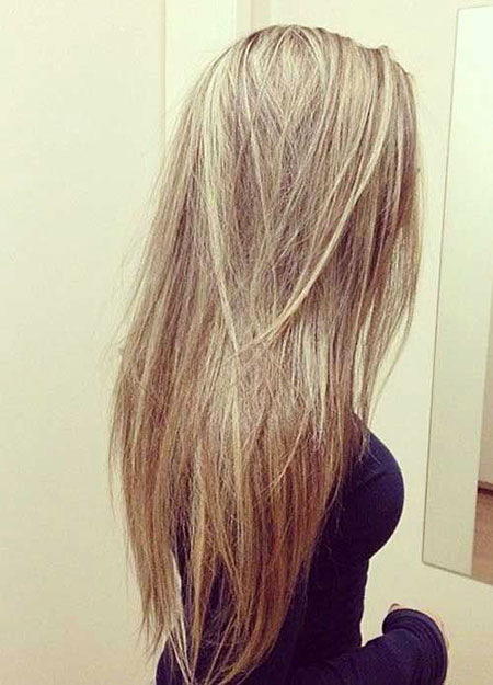 Straight Long Layered Blonde Locks Highlights Brown