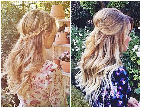 Blonde Half Balayage Wavy Updo Up Summer Prom
