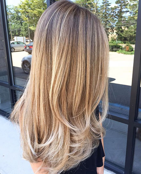 Blonde Balayage Straight Ombre Long Layers Subtle