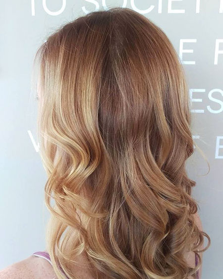 Blonde, Balayage, Strawberry, Highlights, Waves, Up