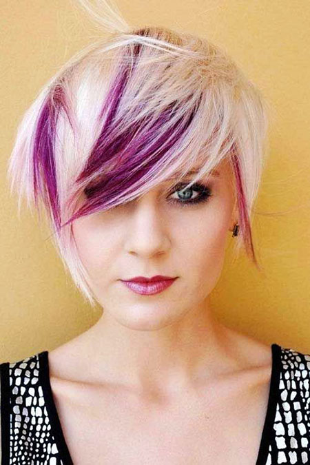 Short Hairstyles, Purple, Pixie Cut, Highlights