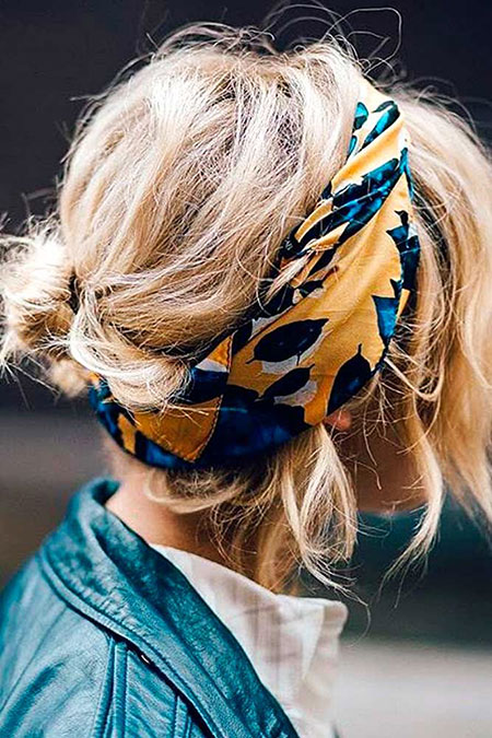 Yellow, Short Hairstyles, Braided, Blonde Hairstyles, Bandana