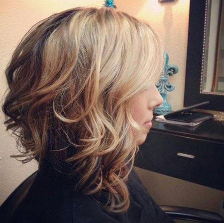 Blonde, Stacked, Highlights, Curly, Bob, Thick, Short, Mid