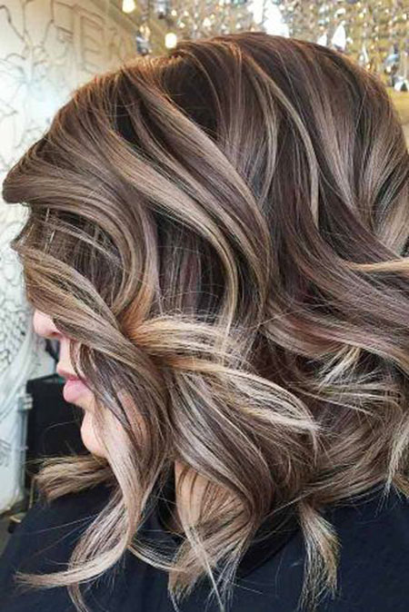 Blonde, Highlights, Balayage, Year, Wavy, Dark, Brown