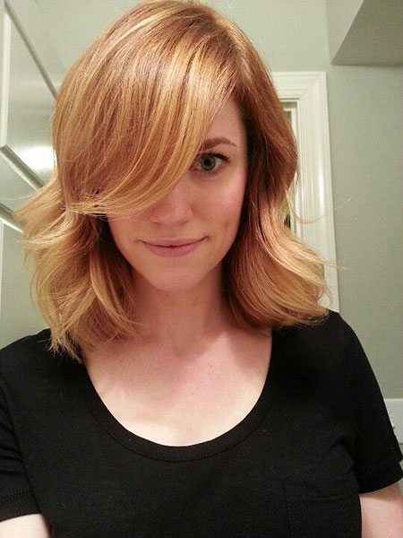 Blonde, Strawberry, Ombre, Medium, Length, Bob