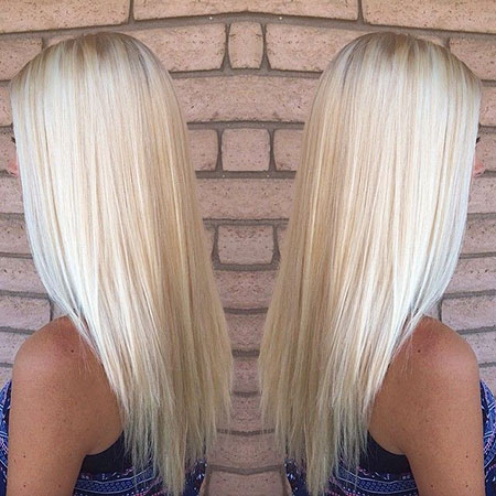 Blonde, Platinum, Highlights, Straight, Long, Light, Bleach