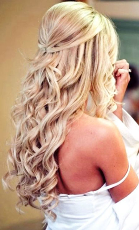Wedding Waterfall Up Straight Half Down