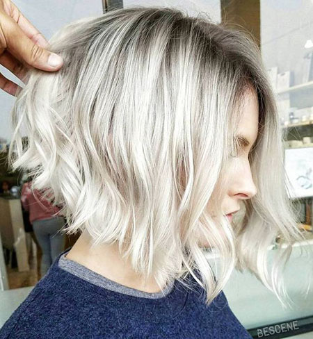 Blonde, Short, Platinum, Balayage, Women, Wavy, Waves
