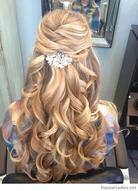Wedding, Long, Curls, Up, Prom, Half, Bride, Blonde