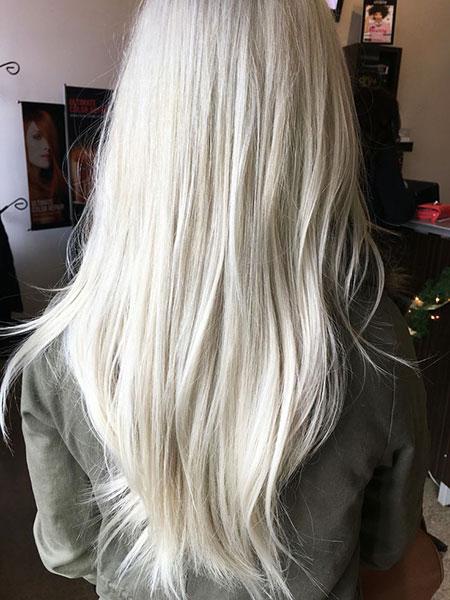 Blonde Platinum Long Balayage Winter Ash