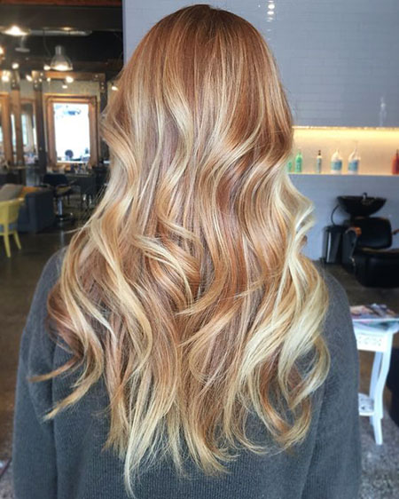 Blonde, Balayage, Strawberry, Part, Ombre