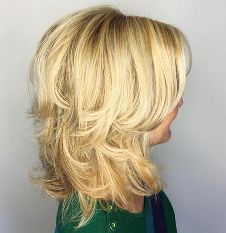 Blonde, Side, Layered, Highlights, Bangs, Balayage