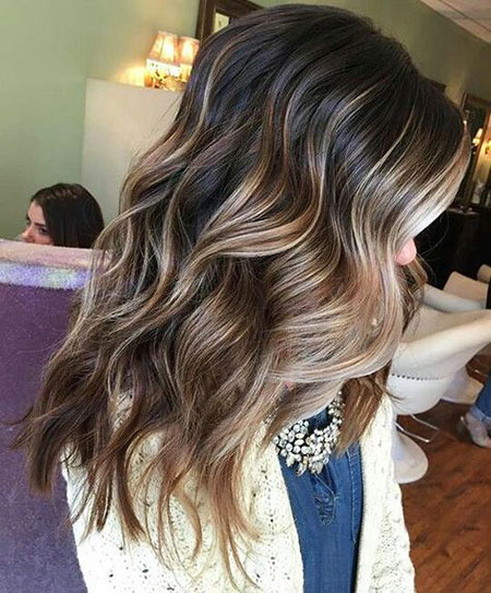 Highlights, Balayage, Blonde, Brown, 2017, Women, Long