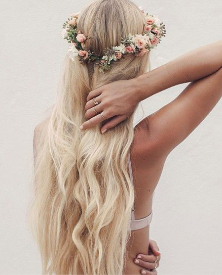 Wedding, Flowers, Flower, Long, Crown, Braided, Blonde