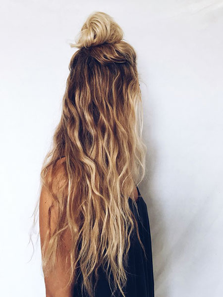 Wavy, Naturally, Long, Curly, Bow, Blonde, Natural, Braided