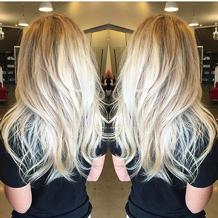 Blonde Long Balayage Wavy Straight Shaggy Platinum