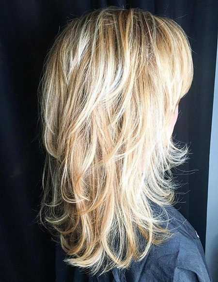 Blonde Layered Highlights Soft Shag Long Layers Ends Curling Boho