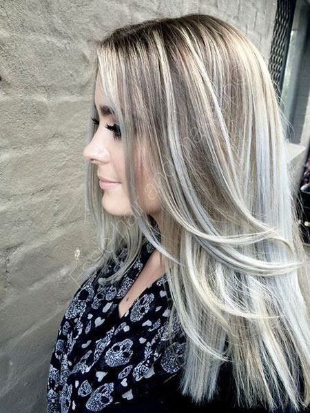 Blonde, Ash, Silver, Platinum, Highlights, Highlighted