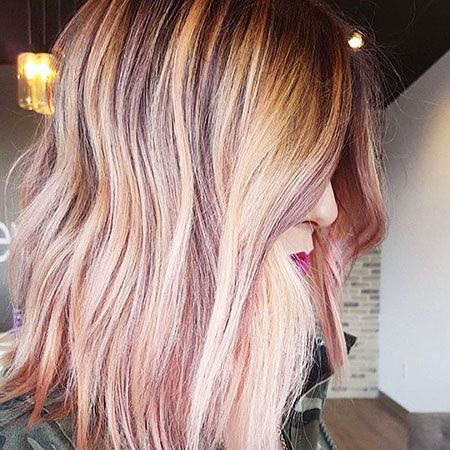 Rose, Gold, Pink, Blonde Hairstyles, Highlights