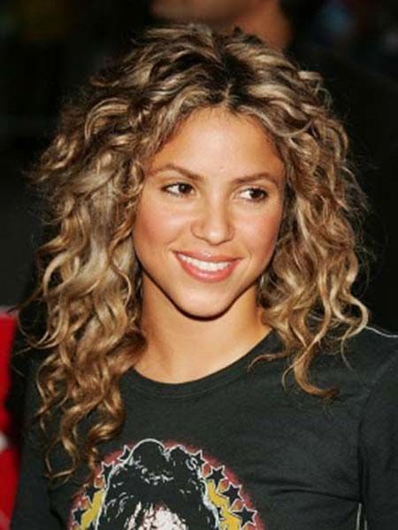 Curly, Naturally, Length, Shoulder, Short, Shakira, Perm