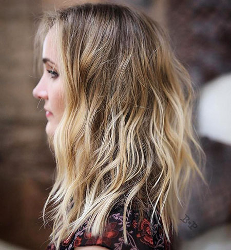 Blonde, Balayage, Medium, Brown, Women, Part, Ombre, Messy