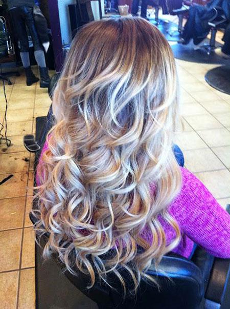 Curls, Blonde, Loose, Big, Balayage, Years, Work, Perm