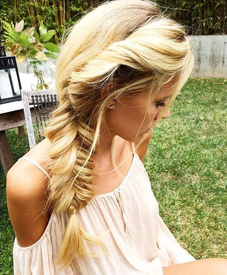 Fishtail, Bridesmaid, Blonde, Side, Messy, Long, Lengths