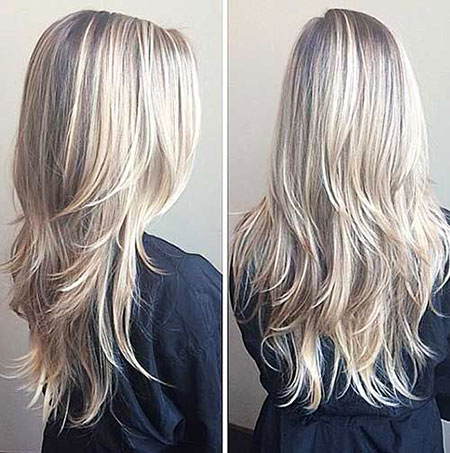 Blonde, Long, Layered, Balayage, Layer, İcy, 2017