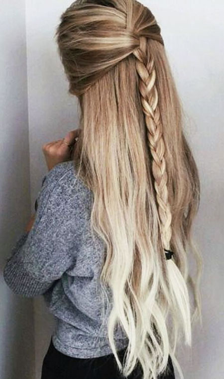 Long Braid Waterfall Fishtail Easy Braided Blonde
