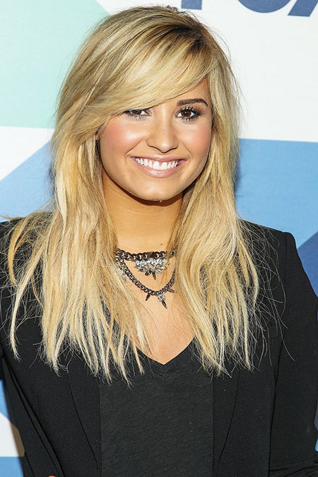 Lovato Blonde Bangs Long Demi Texture