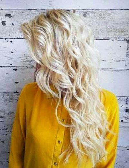 Blonde Waves Long Wavy Trends Summer Platinum Permed