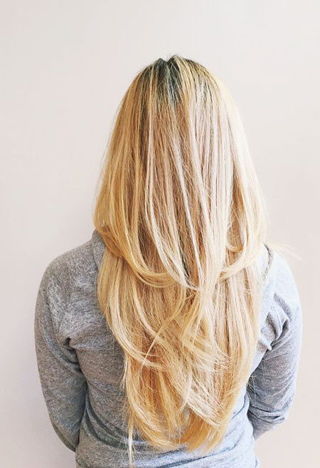 Blonde Long Straight Highlights Balayage Shape Layers