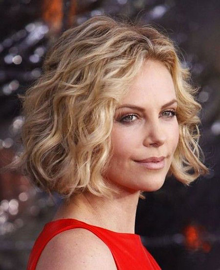 Curly, Blonde Bob Hairstyles, Short Hairstyles, Wavy, Wave, Theron