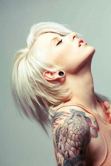 Short Hairstyles, Blonde Hairstyles, Wave, Tattoo, Pixie Cut