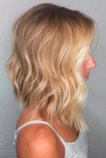 Blonde, Bob, Balayage, Wavy, Waves, Some, Over, Medium, Long