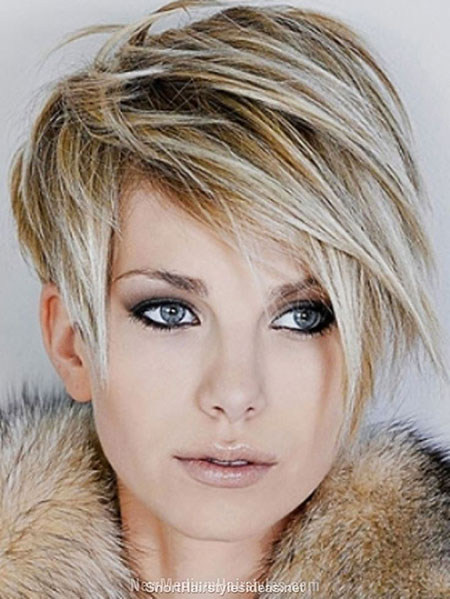 Short Hairstyles, Face, without, Shape, Round, Pixie Cut, Colour